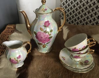 Vintage Foreign Pearl & Gold 8 Piece Tea Set