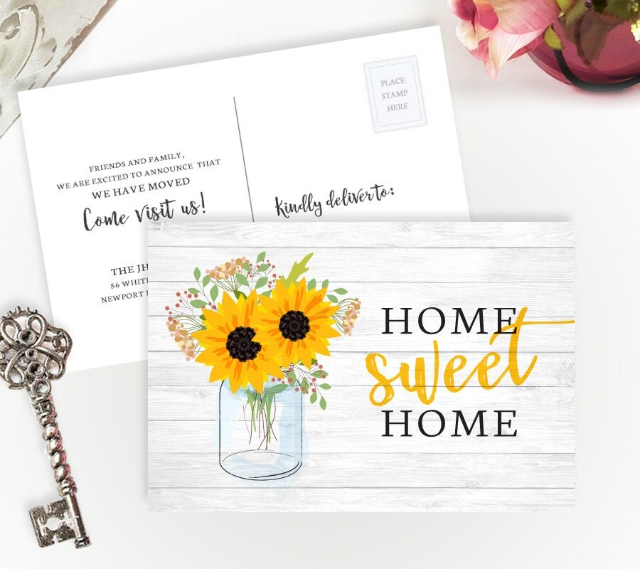 moving announcements printed 4x6 moving postcards with sunflowers