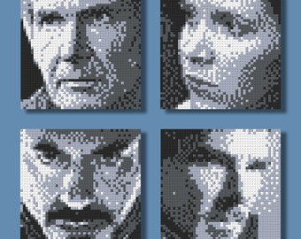 LEGO Mosaic Pattern Sheet - Turn your photo into Lego portrait! (Grayscale Version, Only 4 Colors)
