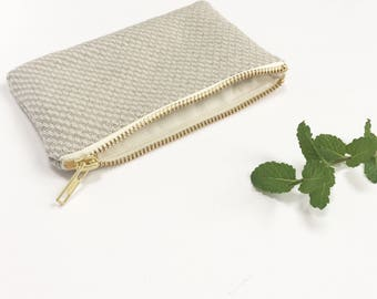 Ecofriendly coin purse, Hays Organic Hemp and purse Natural twill organic cotton lining Vanilla metal zip PS018