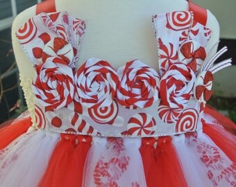 Candy Cane Tutu Dress, holiday tutu dress, christmas tutu dress