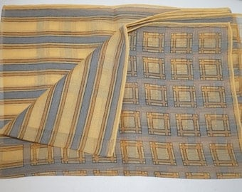 60's mod vintage scarf / Geometric Yellow and Grey Scarf / Rayon lightweight scarf / retro mod vintage scarf / vintage 60's mod scarf