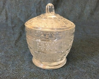 Vintage Clear Kig Glass Daisy and Cane Covered Jar, Candy Jar