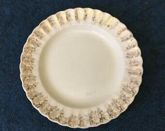 Vintage American Limoges Fresno Gold 22K Gold Trimmed Rose Border Dinner Plate