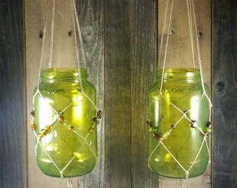 Pair of Knotted Hanging Mason Jars, Hanging Candle Holders, Macrame Mason Jars, Beaded Hanging Mason Jars, Hanging Beaded Mason Jars