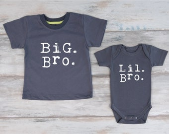 Big Brother Little Brother Set, Big Bro Shirt & Lil Bro Baby Bodysuit, Matching Sibling Outfits, Big Brother Little Brother Photo Prop