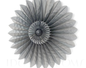 Silver Grey Tissue Paper Fans - Rosettes - Pinwheels - Wedding Party Decorations - Backdrop Decorations