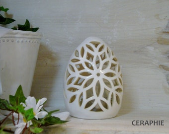Easter lamp made of ceramic / glass shade white