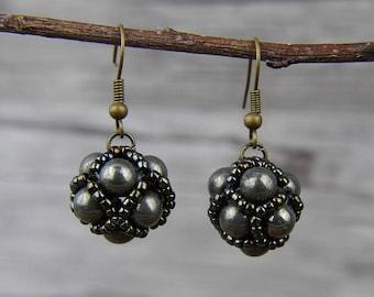 Pyrite beads Earrings Brown Earrings Gyspy Earrings Gemstone beads Earrings Brown Seed beads Earrings Drop Earrings Boho Earrings ED-051