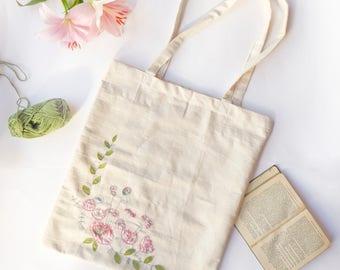 Floral Embroidered Shoulder Tote Bag - pink roses
