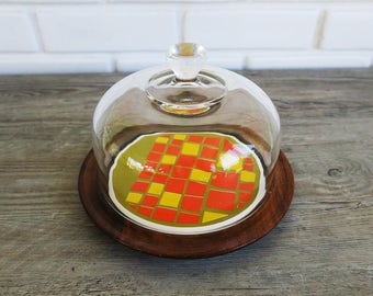 Vintage Domed Cheese Server, Fun Funky Cheese Server, Retro Domed Server, 70's Cheese Plate, Small Domed Server