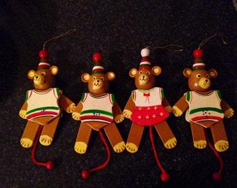 Jumping Jack Christmas ornament, Jumping Jack Ornament,  Jumping Jack Teddy Bear Christmas Ornament, Vintage Wood Teddy