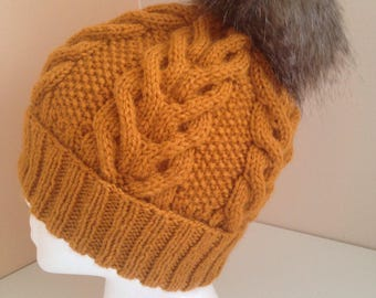 Knitted wool hat with fur pompom, Hand made wool hat with fur pompom
