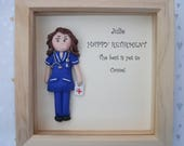 Personalised nurse midwife colleague friend retirement congratulations  gift framed art caricature