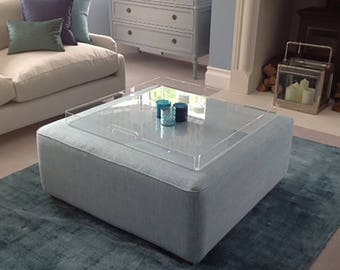 Footstool Tray or Ottoman Tray   Acrylic Tray    Serving Tray    Premium Perspex Acrylic   Made in the UK