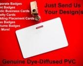 1 Custom Plastic PVC Employee ID Badge - Single or Dual Sided - **Optional Free Slot Punch & Strap Clip**