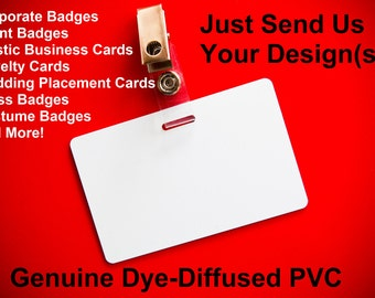 1 Custom Plastic PVC Employee ID Badge - Single or Dual Sided - **Optional Free Slot Punch & Strap Clip**