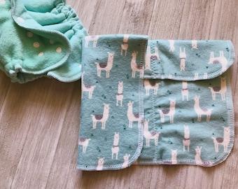 Llama Print Flannel and Zorb Newborn Prefold Insert