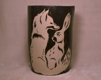 Fox and Rabbit Vase