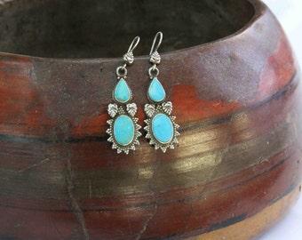 Turkmen Turquoise Stones Earrings, 925 Sterling Silver Turkoman Belly Dance Earrings, Ethnic Tribal