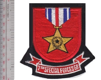 Green Beret US Army 7th Special Forces Group ABN Flash & Silver Star Medal sm