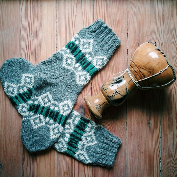 Knitting Pattern Wool Socks : Hand knit wool socks with Nordic patterns wool socks