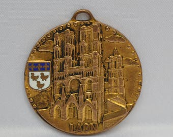 French Comtemporary  Cathedral Of Laon Medal By Drago - Enamel Heraldry -