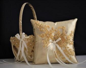 Gold Wedding Bearer Pillow + Gold Flower Girl Basket \ Lace Gold Wedding Basket \ Gold Lace bearer pillow \ Lace wedding basket pillow set