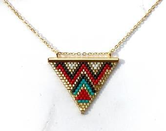 Sotik beaded triangle pendant necklace Delica beads Glass beads necklace Minimalist jewellery Seed bead jewellery Bead woven Peyote necklace