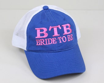 Bride To Be Embroidered Hat // Bachelor or Bachelorette Party Bride Trucker Mesh Unstructured Hat
