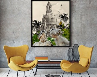 Christmas wall art, Love without barriers poster, 50 x 70 cm, Monochromatic, Sepia color, Italy Photography, Renaissance style, Architecture