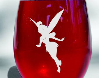 Deep Engraved Dishwasher Safe Tinker Bell Disney Wine Glass - Personalize for Free - Choice Of Glass - Peter Pan Wine Glass - Disney Gift
