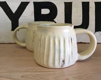 Yellow Ribbed and Grooved Ceramic Coffee Mug with Rust Stain | Handmade Pottery | HandmadeMN