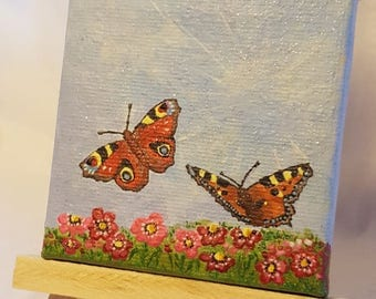 Miniature Acrylic Painting, Butterflies, Small Format Art, Actual Painting, Not a Print