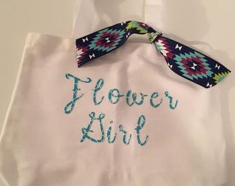 White Flower Girl Bag - Teal Lettering