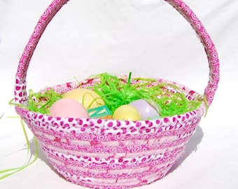 Fabric Basket, Spring Basket, Coiled Fabric Rope Basket, Rag Basket, Easter Basket, Gift Basket, Fushia Basket, Cloth Basket w/Handle,