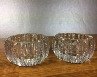 Clear Cut Crystal Salt Cellar's 2pc