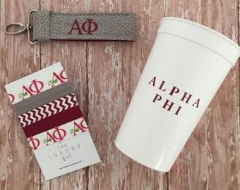 Alpha Phi Bid Day Bag; Alpha Phi gift bag; Sorority gift bag; Alpha Phi Big Little; Alpha Phi Cup, Hair Ties, Key Chain