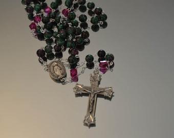 Catholic Rosary, Ruby Zoisite Rosary, Rosary, handmade