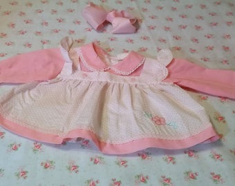Vintage Dress, Size 3 Month Girls, Pink Dress, Long Sleeve Dress, Perfect for Dolls too