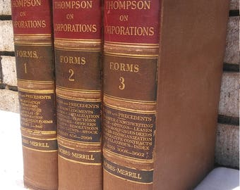 1927 Thompson's Commoentaries On The Law Of Corporations volumes 1 -3 published by The Bobbs & Merrill Co