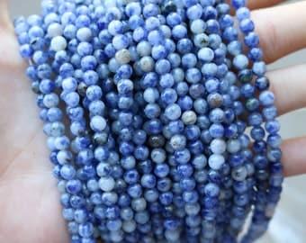4mm Sodalite, Round Beads, Blue Beads, White Beads, Natural Gemstone, Small Beads,