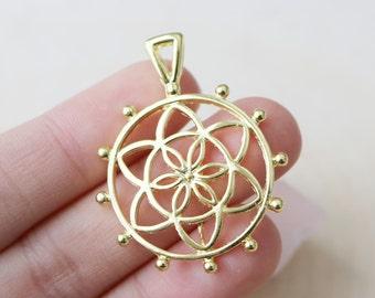 Set of 4, Gold Flower of life Pendant, Gold Pendant, Round Pendant, Gold Round Pendant, Jewelry Pendant, Flower of LIfe,