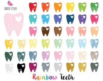 43 Rainbow Teeth clipart, Dentist clipart. Personal and comercial use.
