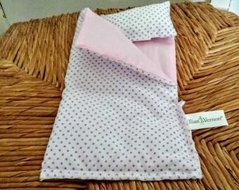 "Vintage Lillian Vernon Doll Sleeping Bag & Pillow 8.50"" Long Purple Polka Dots Pink Lining Cotton Fabric"