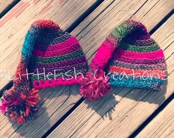 Twin Girls Hat Set - Photo Props - Long Tail Newborn Hats
