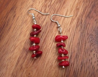 Dangle Earrings Red Coral Earrings Jewelry Dangle Drop Earrings Earrings Elegant Earrings Handmade Earrings Gift For Her