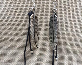 Feather Earrings Dangle Boho Earrings Tibetan Silver Earrings Bohemian Jewellery Gift For Her