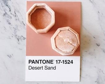 Velvet Ring Box Desert Sand Octagon Handmade Wedding Vintage  Engagement Gift Bride