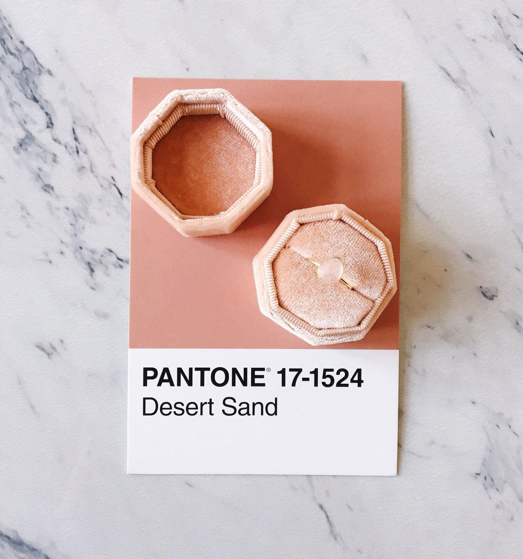 Velvet Ring Box Desert Sand Octagon Handmade Wedding Vintage
